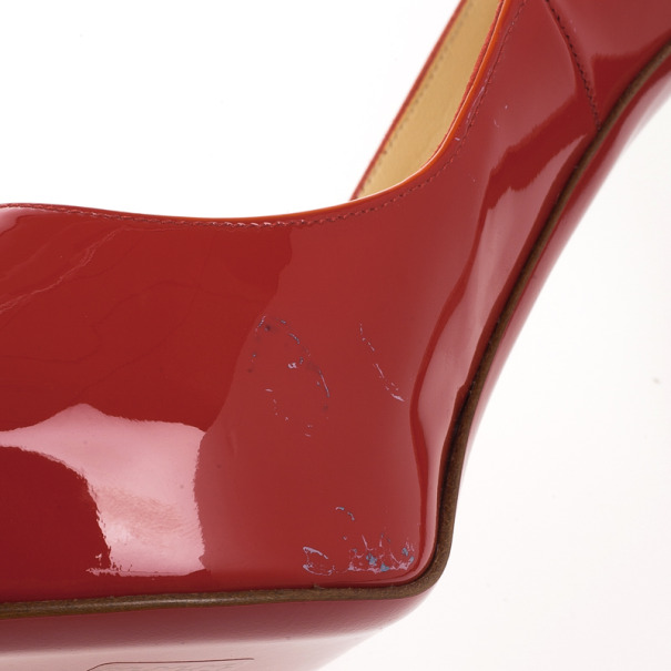 Christian Louboutin Red Patent Very Prive Peep Toe Pumps Size 39.5