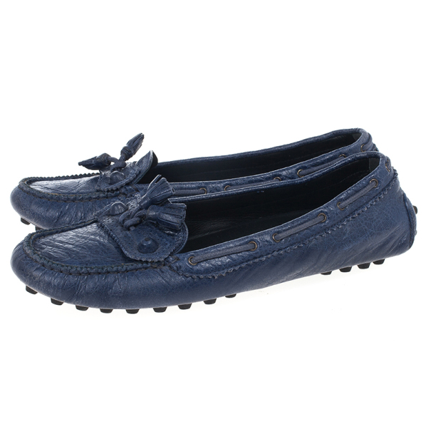 Balenciaga Blue Leather 'Arena' Tassel Loafers Size 39.5