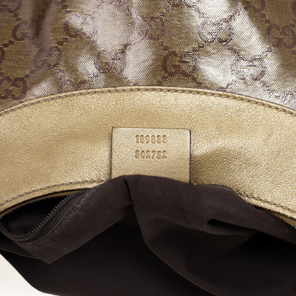 Gucci Beige GG Crystal Canvas Gold D Ring Hobo Bag