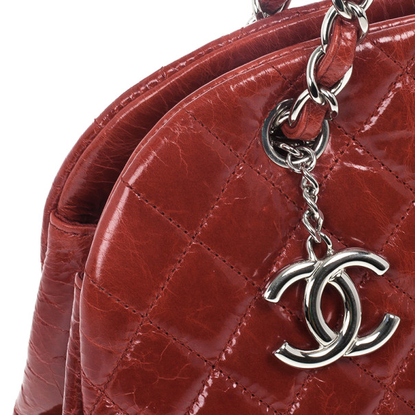Chanel Red Just Mademoiselle Large Patent Bowler Satchel