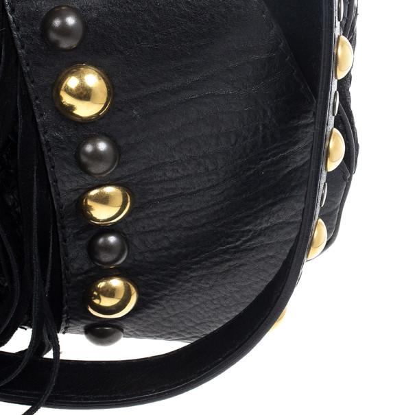 Gucci Babouska Black Leather Python Shoulder Bag
