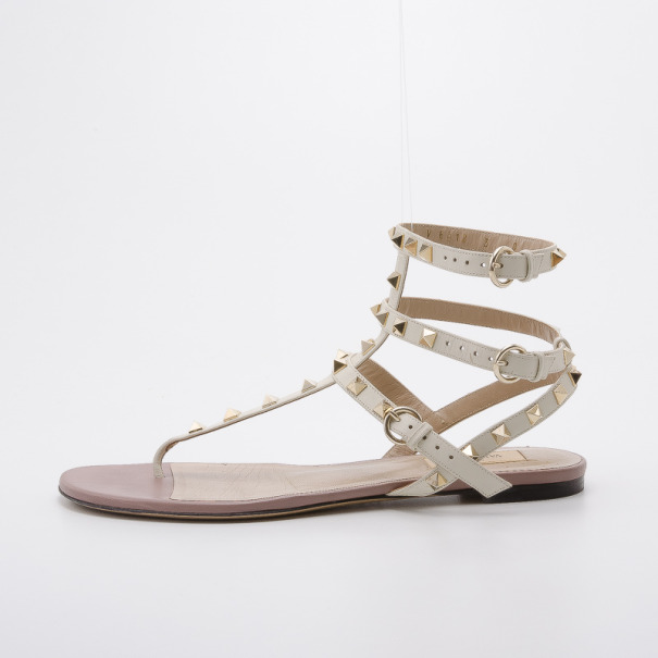 Valentino White Leather Thong Rockstud Sandals Size 40