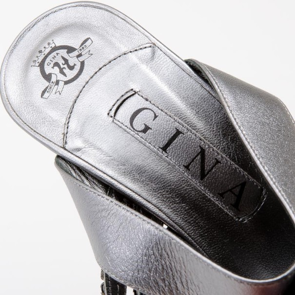 Gina Metallic Leather Crystal Slides Size 39