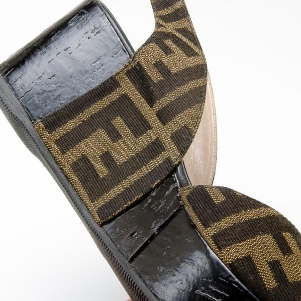 Fendi Tobacco Zucca Canvas Slingback Wedges Size 37.5