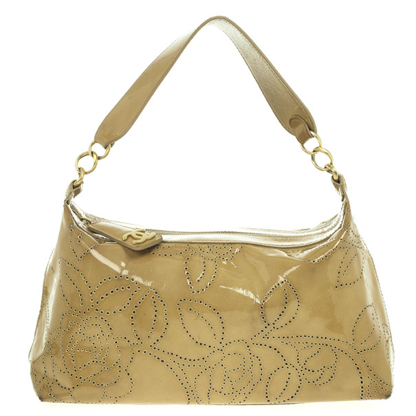 Chanel Patent Perforated Camelia Hobo