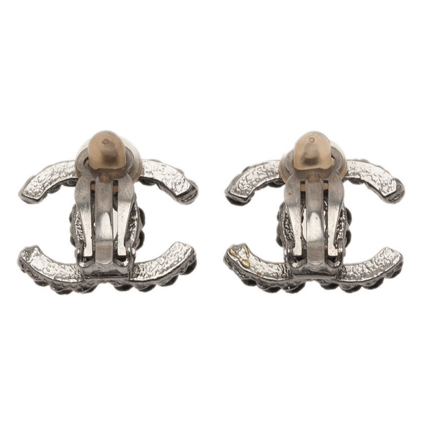 Chanel CC Black Crystal Silver Tone Earrings