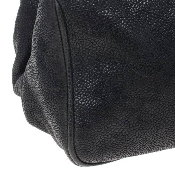 Chanel Black Distressed Caviar Outdoor Ligne Shopper Tote