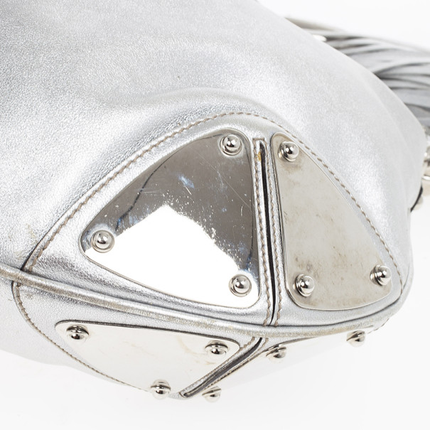 Gucci Silver Leather Indy Top Handle Bag