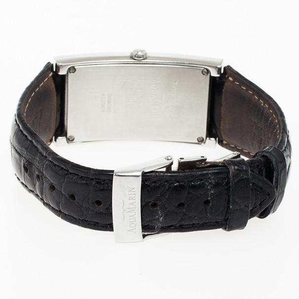 Aquamarin Avalon Stainless Steel Diamond Womens Wristwatch 30 MM
