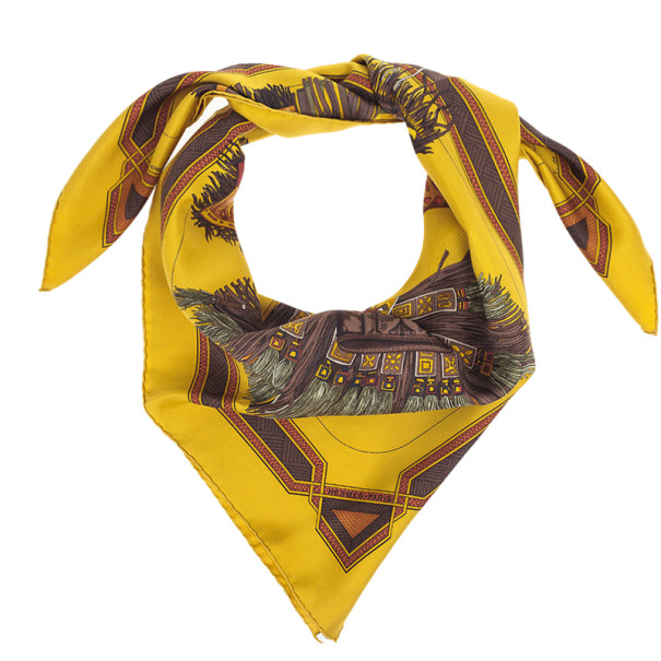 Hermes Yellow Cuirs Du Desert Square Scarf