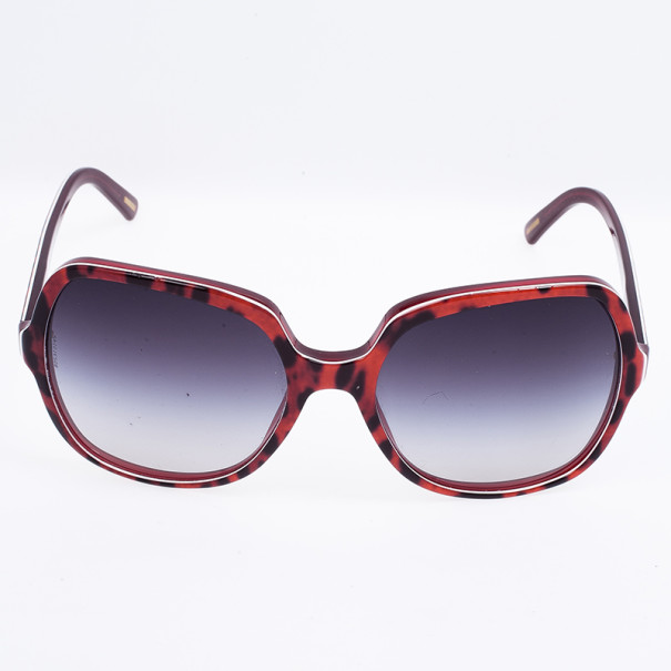 Dolce and Gabbana Orange Leopard Print Square Woman Sunglasses