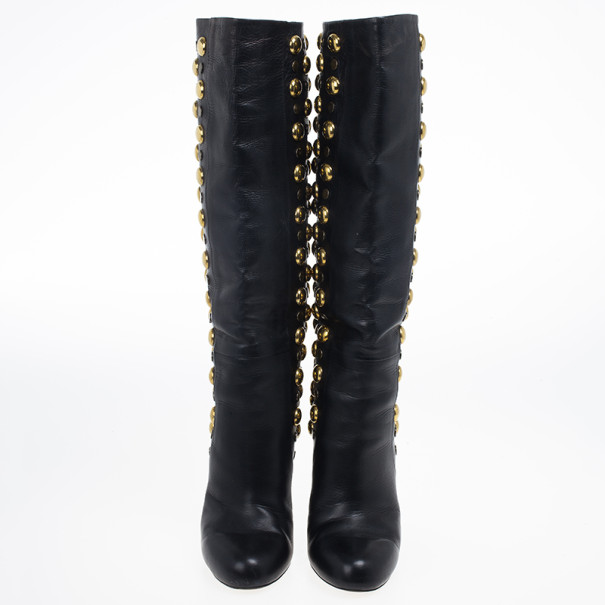 Gucci Black Leather 'Babouska' Studded Boots Size 38
