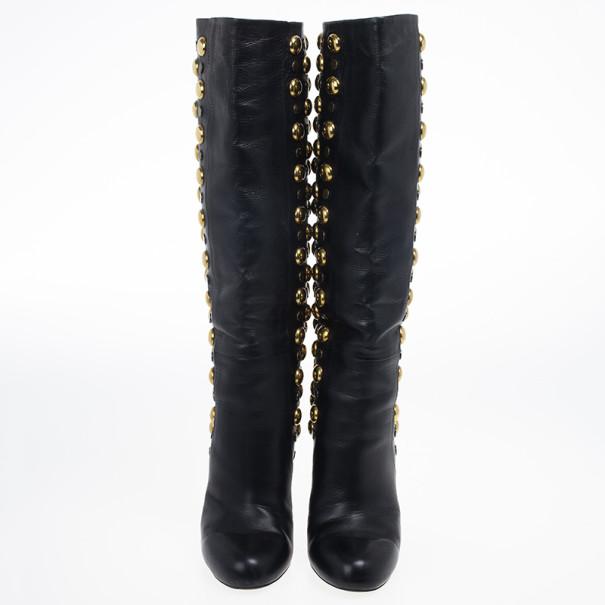 Gucci Black Leather 'Babouska' Studded Boots Size 38