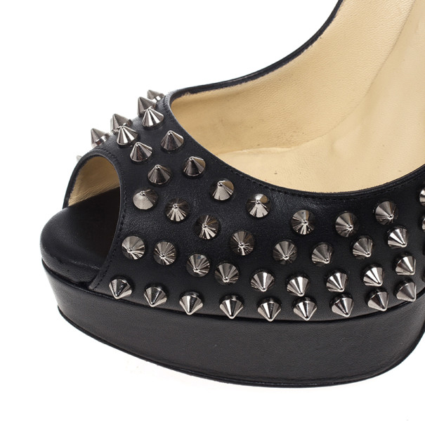 Christian Louboutin Black Lady Peep Toe Spikes Platform Pumps Size 37.5