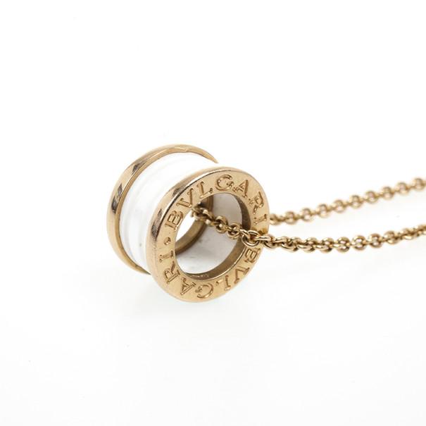 Bvlgari B.Zero1 Pink Gold and White Ceramic Pendant Necklace