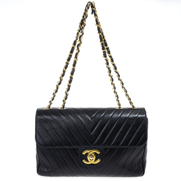 Chanel Black Chevron Lambskin Jumbo XL Classic Flap Bag
