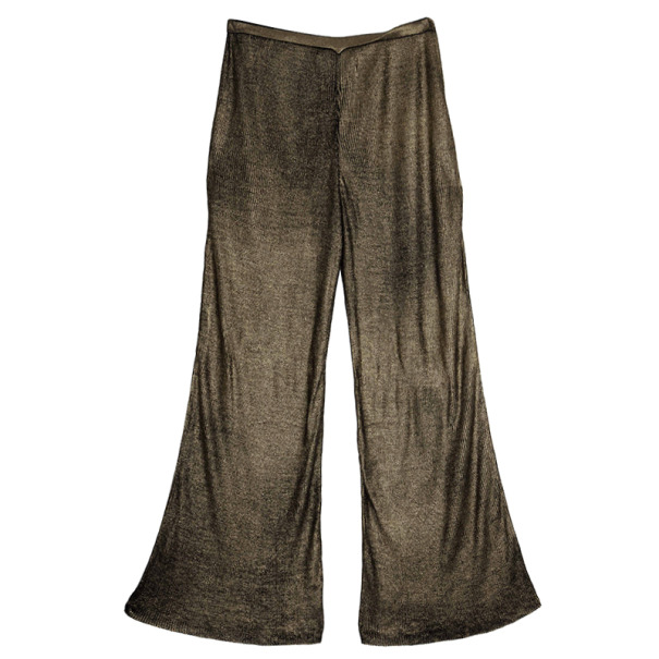 Emilio Pucci Metallic Ribbed Silk-jersey Pants Size L