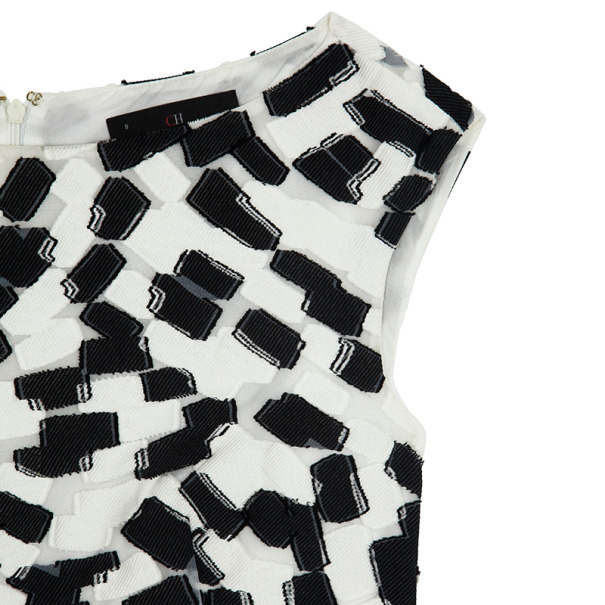 Carolina Herrera Monochrome Drop Waist Dress Size L