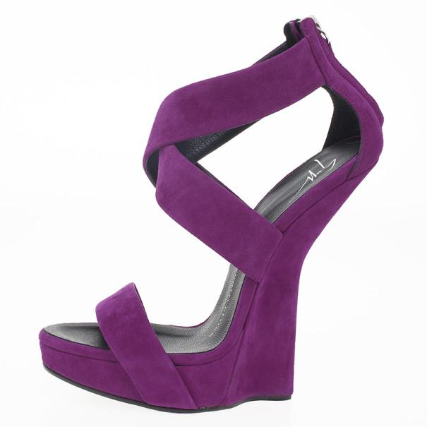 Giuseppe Zanotti Purple Suede Hi Wedge 'Alien' Sandals Size 36