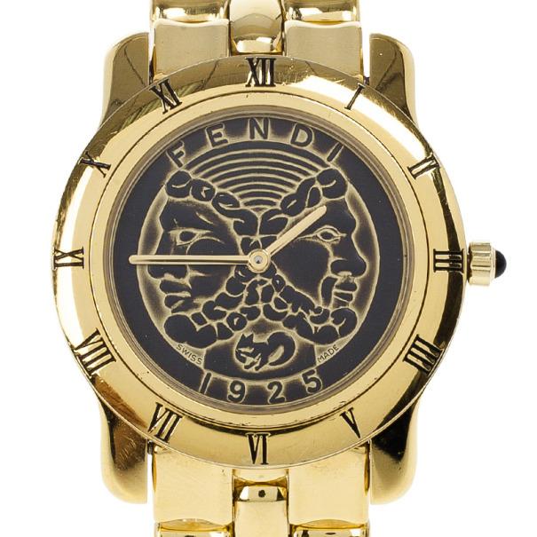 Fendi Janus Gold Plated Womens Watch 35 MM