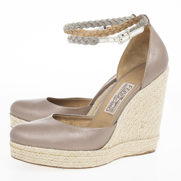 Salvatore Ferragamo Satin and Jute Ankle Strap Espadrille Wedges Size 38