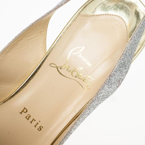 Christian Louboutin N°Prive Glitter Slingback Sandals Size 38.5