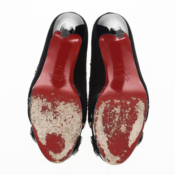 Christian Louboutin Black Suede Very Jaws Peep Toe Platform Pumps Size 38