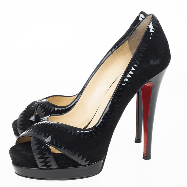 Christian Louboutin Black Suede Very Jaws Peep Toe Platform Pumps Size 38