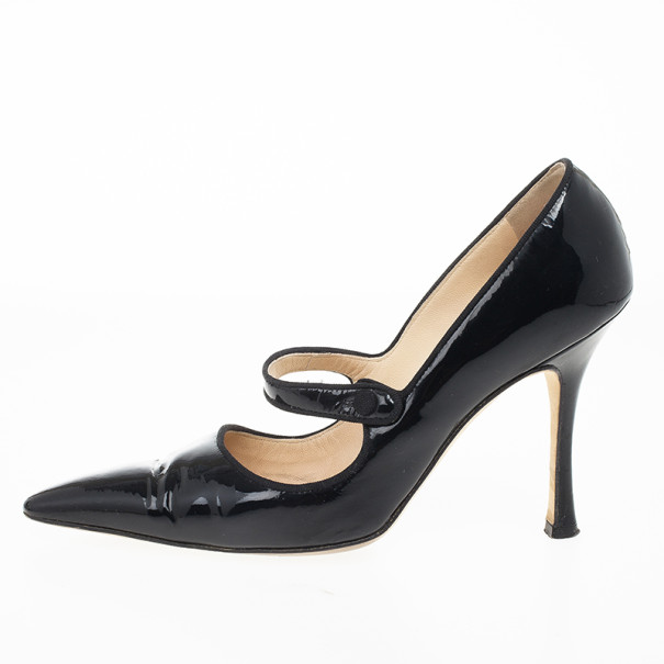 Manolo Blahnik Black Patent Campari Mary Jane Pumps Size 38
