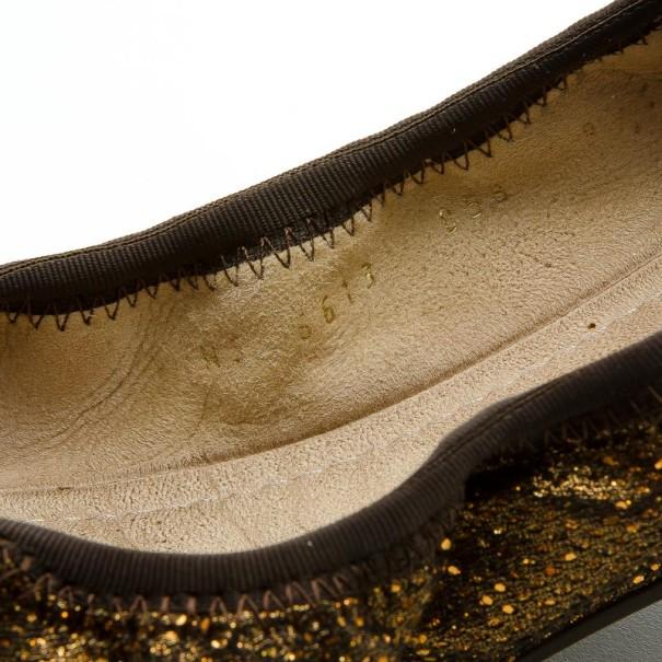 Salvatore Ferragamo Bronze Bow Ballet Flats Size 40