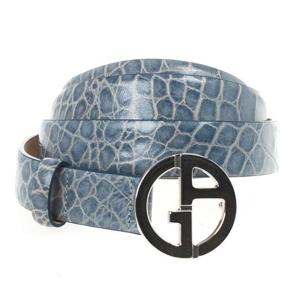 Giorgio Armani Blue Croc Embossed Logo Belt Size 46