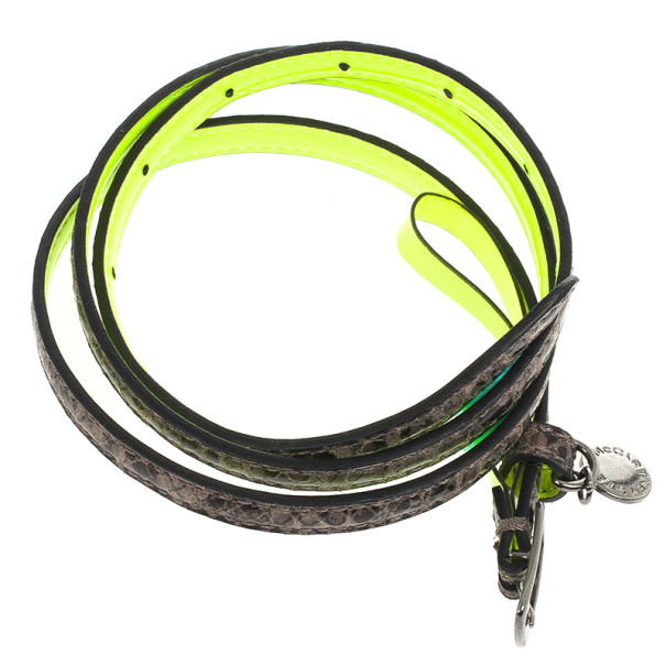 Stella McCartney Neon Green Python Print Skinny Belt 70 CM