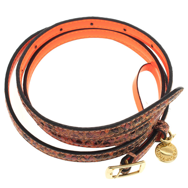 Stella McCartney Orange Python Print Skinny Belt 80 CM