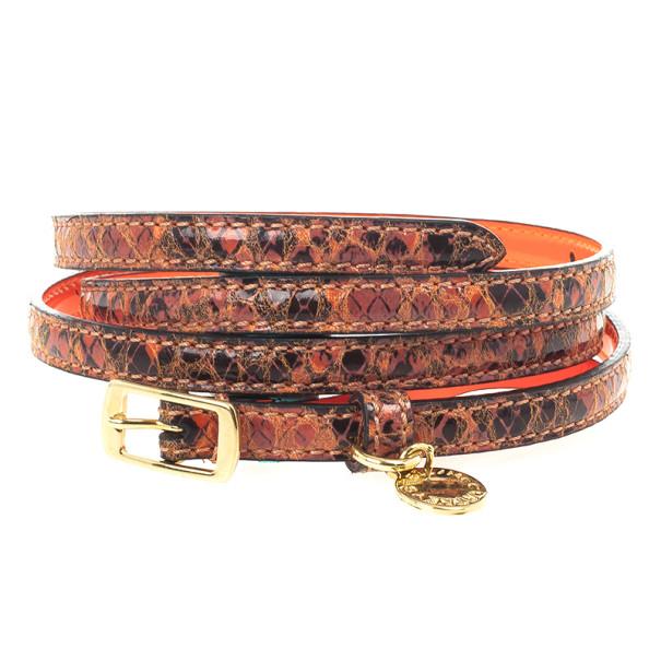 Stella McCartney Orange Python Print Skinny Belt 80 CM