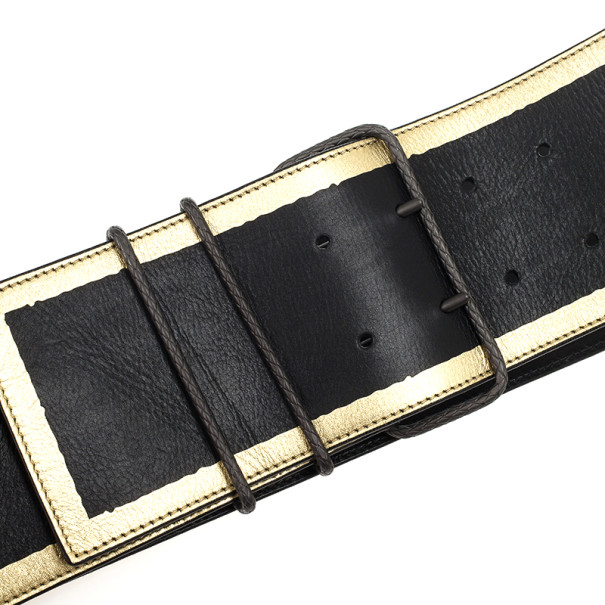 Bottega Veneta Black Leather Waist Belt 85 CM