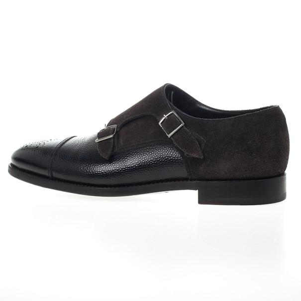Giorgio Armani Monkstrap Suede & Leather Shoes Size 43.5