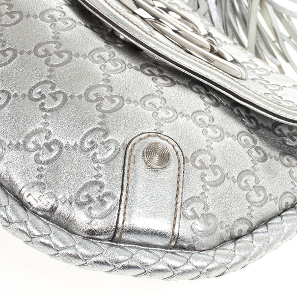 Gucci Metallic Silver Guccissima Leather Small Britt Shoulder Bag