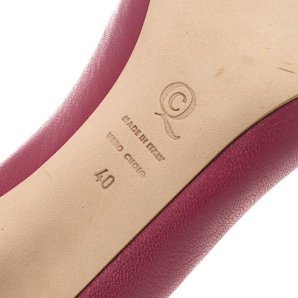 Alexander McQueen Pink Leather Skull Detail Peep Toe Pumps Size 40
