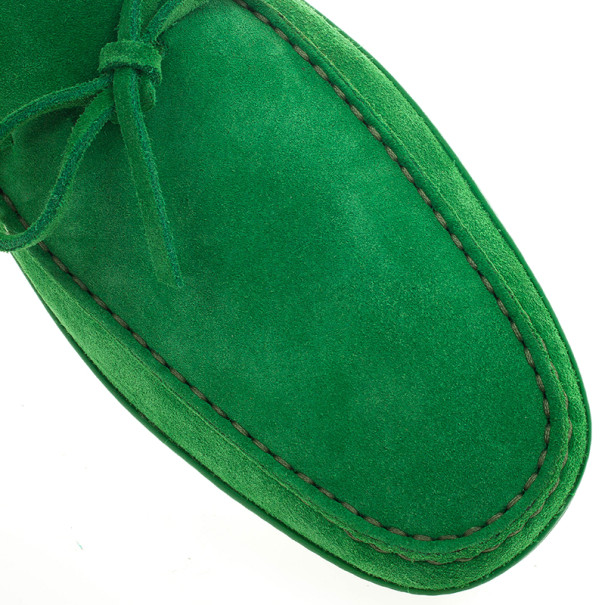 Tod's Green Suede Bow Loafers Size 44