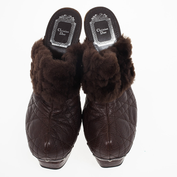 Dior Brown Leather Cannage 'Ice' Rabbit Fur Platform Clogs Size 37