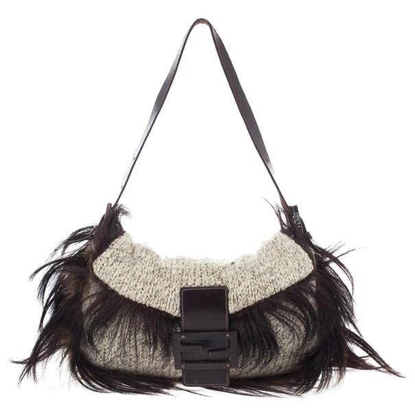 Fendi Brown Fur White Knit Baguette Bag