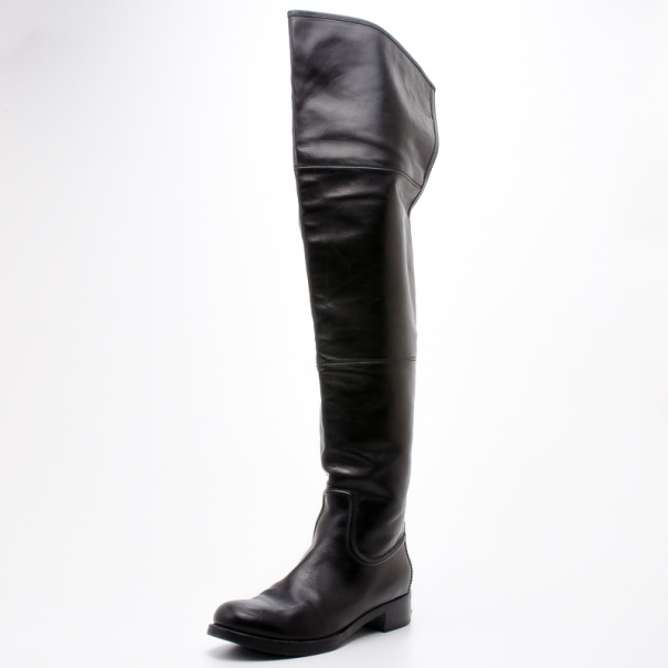 Louis Vuitton Black Leather Marisa Thigh Flat Boots Size 39.5