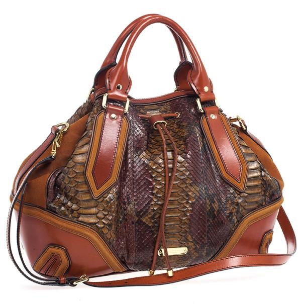 Burberry Brown Medium Framed Suede Python Tote Bag