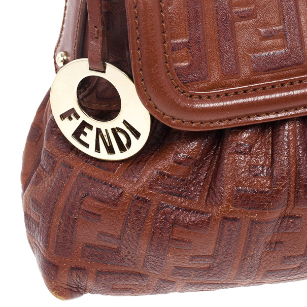 Fendi Zucca Brown Leather Chef Hobo