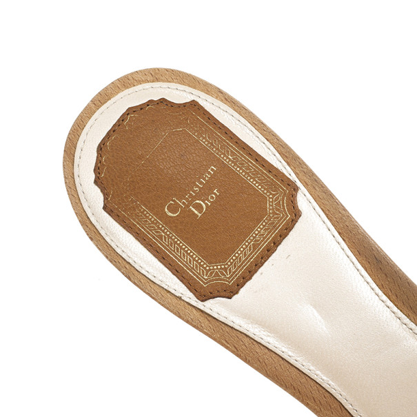Dior Wooden Camel Leather Mules Size 39