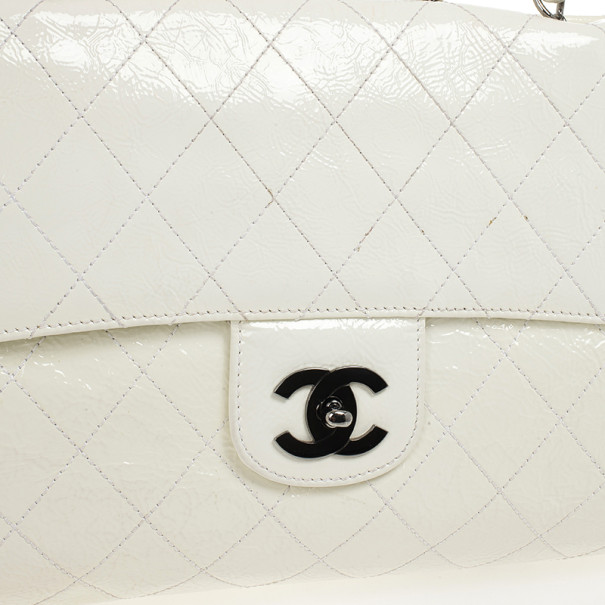 Chanel White Quilted Crackled Patent Leather The Ritz Shoulder Bag