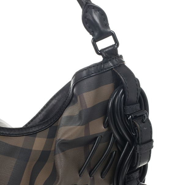 Burberry Smoked Check Cable Knots Hobo Handbag