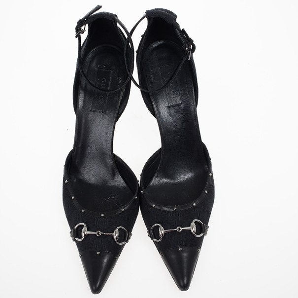 Gucci Black Leather Pointed Toe Ankle-Strap Heels Size 40.5