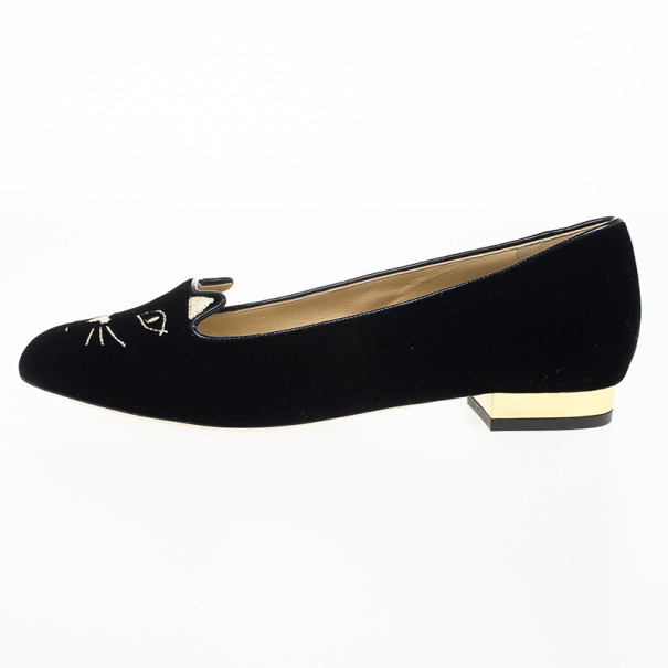Charlotte Olympia Kitty Embroidered Velvet Flats Size 37