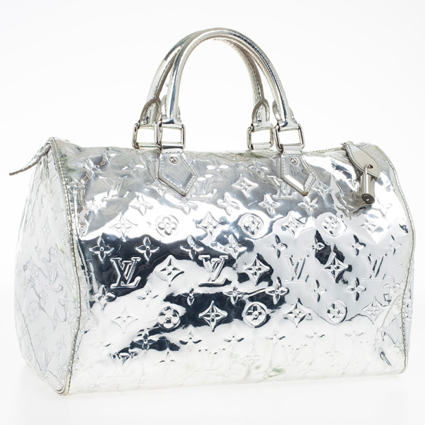 Louis Vuitton Limited Edition Silver Monogram Miroir Speedy 30 Bag